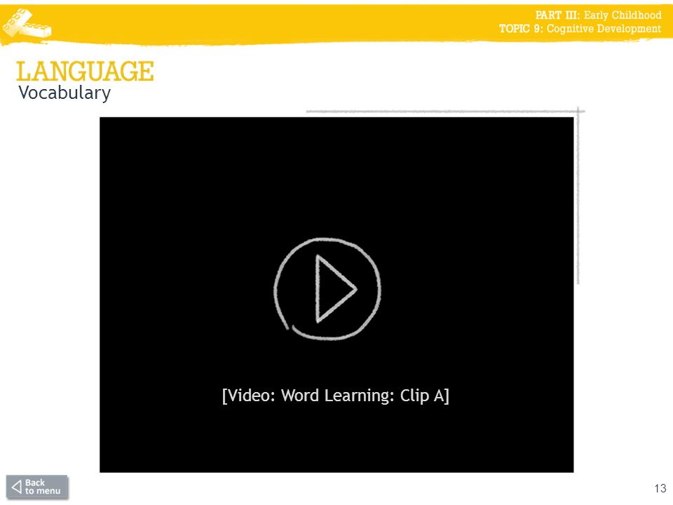 [Video: Word Learning: Clip A]